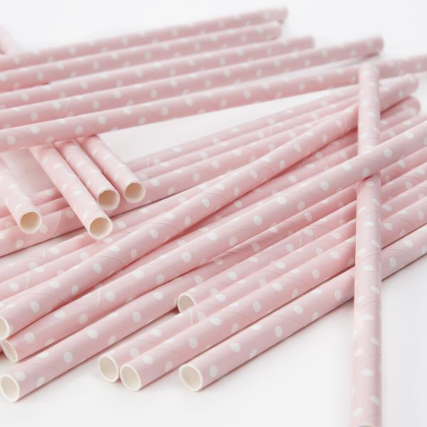 Papírové brčko Polka dot Pink
