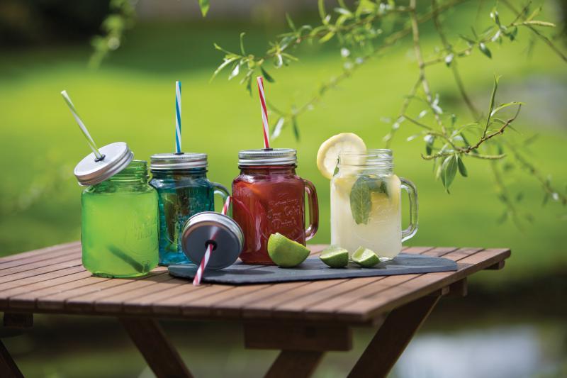 Mason jar sklenice s víčkem a brčkem, červená, 450 ml