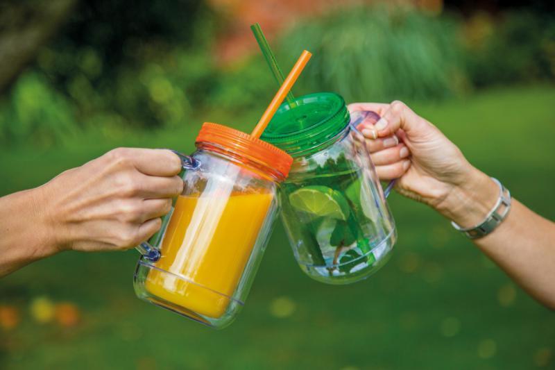 Dvoustěnná plastová sklenice s víčkem a brčkem Zelená 400ml