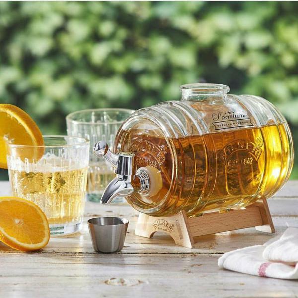 KILNER skleněný nápojový automat ve tvaru sudu s podstavcem 1l, chromový kohoutek