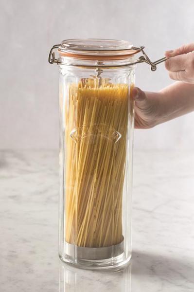KILNER sklenice s klipem fasetový design na špagety 2,2l