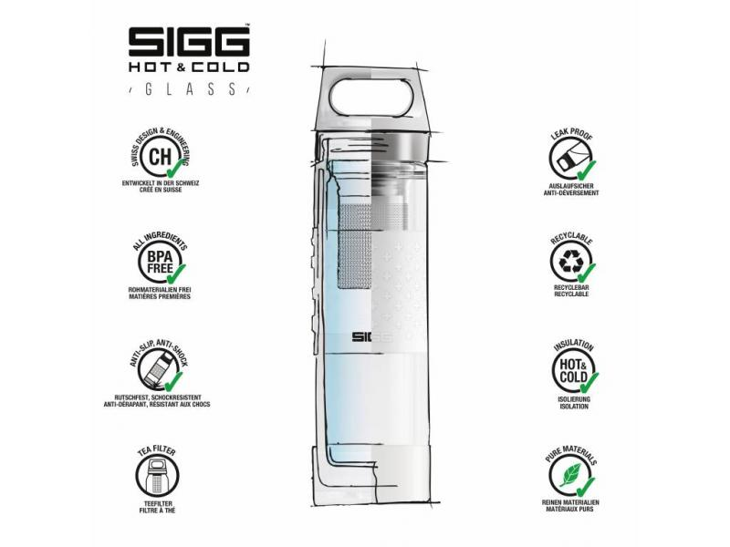SIGG termoska hot & cold glass 0,4l červená