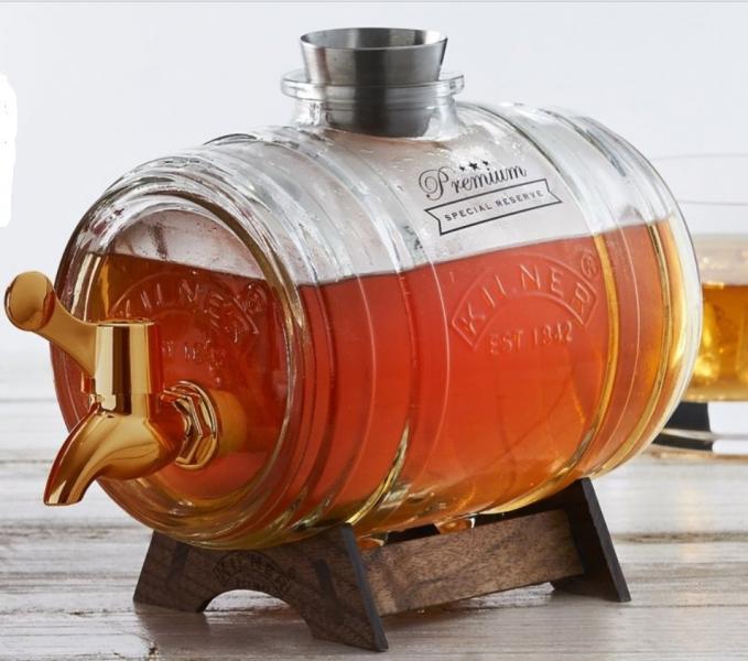 Kilner skleněný nápojový automat ve tvaru sudu s podstavcem 1l, mosazný kohoutek