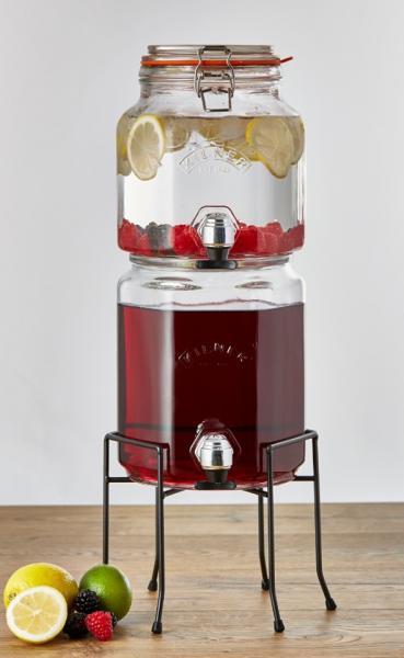 KILNER skleněný nápojový automat s kohoutkem 2 ks stohovatelný 2l/3l