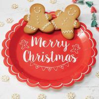 Papírové talíře Merry Christmas