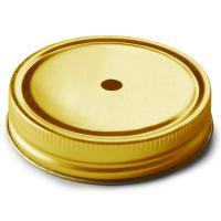Zlaté víčko na mason jar sklenice s otvorem na brčko