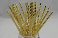 Papírová brčka Gold Stripe Folie